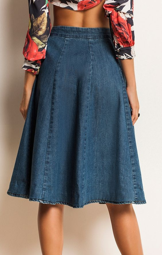 roupas da moda 2016 saia jeans evase