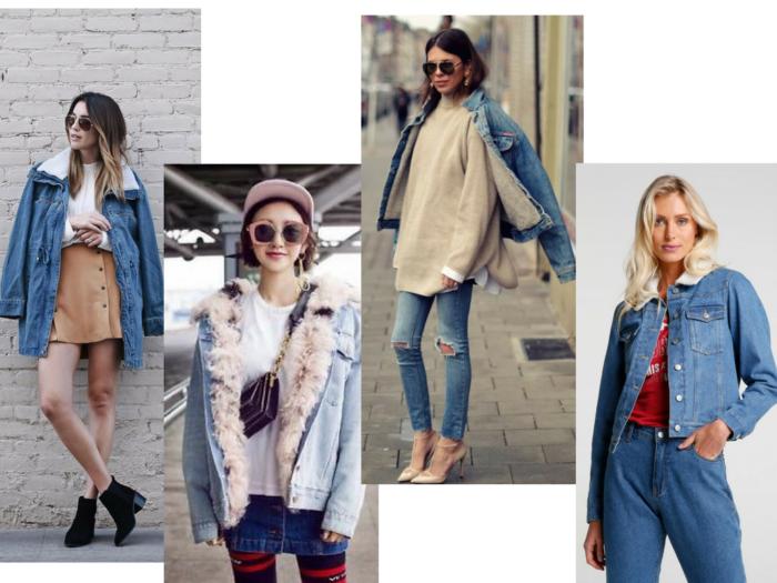 moda | moda 2018 | jaqueta jeans | look com jaqueta jeans | jaqueta jeans forro de ovelha | jaqueta forro pêlo de carneiro