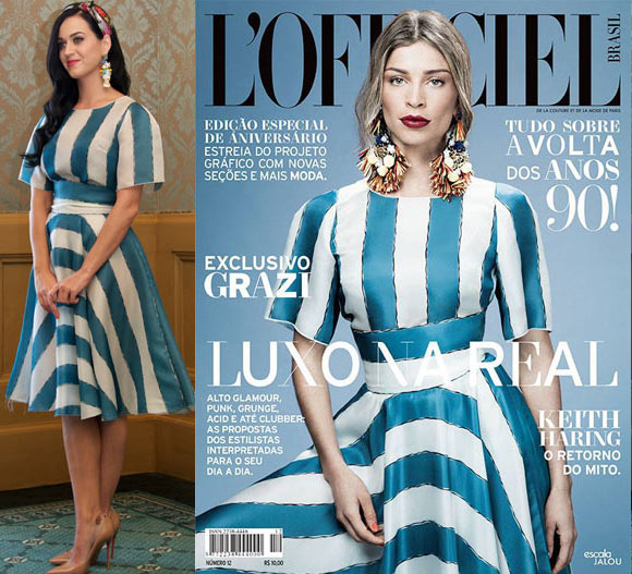Vestido de listras azul e branco